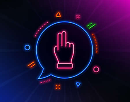 Click hand line icon. Neon laser lights. Two fingers palm sign. Gesture symbol. Glow laser speech bubble. Neon lights chat bubble. Banner badge with click hand icon. Vector Ilustrace