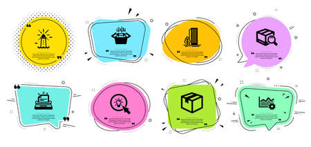 Operational excellence, Packing boxes and Search package line icons set. Chat bubbles with quotes. Buildings, Lighthouse and Energy signs. Parcel, Typewriter symbols. Vector Ilustração