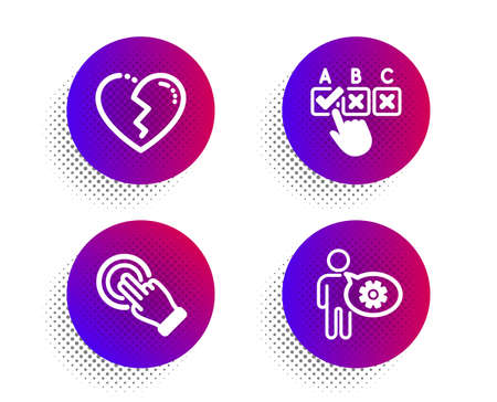 Touchscreen gesture, Correct checkbox and Broken heart icons simple set. Halftone dots button. Cogwheel sign. Click hand, Answer, Love end. Engineering tool. People set. Vector Ilustrace