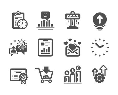 Set of Technology icons, such as Graph chart, Reject certificate, Attraction, Swipe up, Smile, Love mail, Time, Seo gear, Idea, Report document, Shopping, Exam time classic icons. Vector