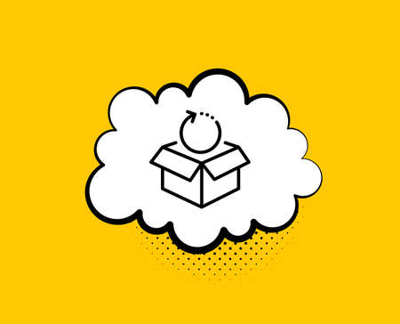 Return package line icon. Comic speech bubble. Delivery parcel sign. Cargo goods box symbol. Yellow background with chat bubble. Return package icon. Colorful banner. Vector Иллюстрация