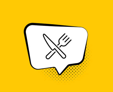 Food line icon. Comic speech bubble. Cutlery sign. Fork, knife symbol. Yellow background with chat bubble. Food icon. Colorful banner. Vector