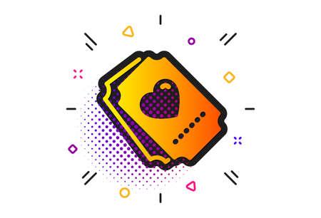 Heart emotion sign. Halftone circles pattern. Love ticket icon. Valentine day symbol. Classic flat love ticket icon. Vector Archivio Fotografico - 129173680