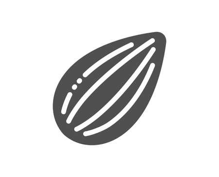 Tasty nut sign. Almond nut icon. Vegan food symbol. Classic flat style. Simple almond nut icon. Vector