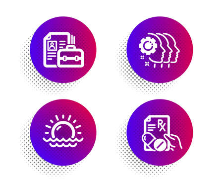 Sunset, Employees teamwork and Vacancy icons simple set. Halftone dots button. Prescription drugs sign. Sunny weather, Collaboration, Hiring job. Pills. Science set. Classic flat sunset icon. Vector Ilustrace