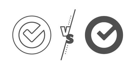 Approved Tick sign. Versus concept. Check line icon. Confirm, Done or Accept symbol. Line vs classic verify icon. Vector