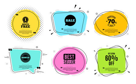 Get Extra 60% off Sale. Best seller, quote text. Discount offer price sign. Special offer symbol. Save 60 percentages. Quotation bubble. Banner badge, texting quote boxes. Extra discount text. Vector