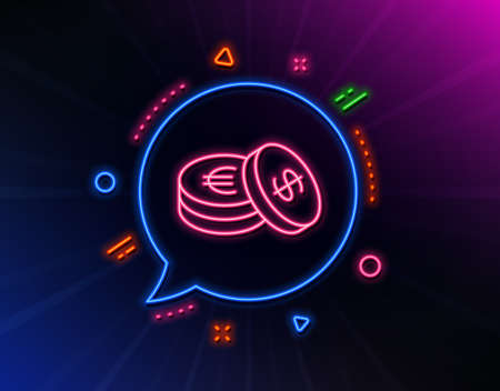 Coins money line icon. Neon laser lights. Banking currency sign. Euro and Dollar Cash symbols. Glow laser speech bubble. Neon lights chat bubble. Banner badge with savings icon. Vector
