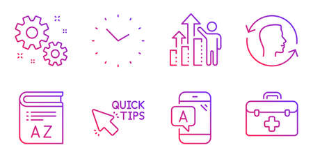 Time, Employee results and Quick tips line icons set. Ab testing, Face id and Work signs. Vocabulary, First aid symbols. Clock, Chart. Science set. Gradient time icon. Vector