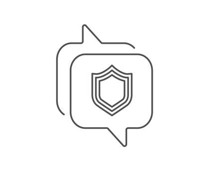 Shield line icon. Chat bubble design. Protection or Security sign. Defence or Guard symbol. Outline concept. Thin line security icon. Vector