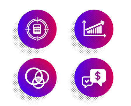 Calculator target, Euler diagram and Chart icons simple set. Halftone dots button. Payment received sign. Audit, Relationships chart, Money. Finance set. Classic flat calculator target icon. Vector