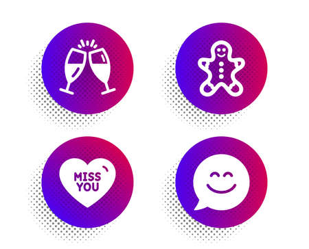 Gingerbread man, Miss you and Champagne glasses icons simple set. Halftone dots button. Smile chat sign. Christmas cookie, Love heart, Chin-chin. Happy face. Holidays set. Vector Ilustrace