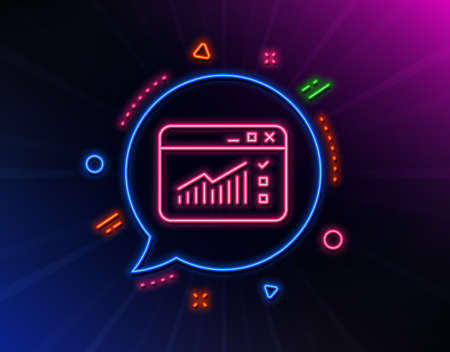 Website Traffic line icon. Neon laser lights. Report chart or Sales growth sign. Analysis and Statistics data symbol. Glow laser speech bubble. Neon lights chat bubble. Vector
