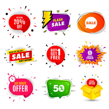 Get Extra 20% off Sale. Banner badge, flash sale bubble. Discount offer price sign. Special offer symbol. Save 20 percentages. Last minute offer. Sticker badge, comic bubble. Discounts box. Vector