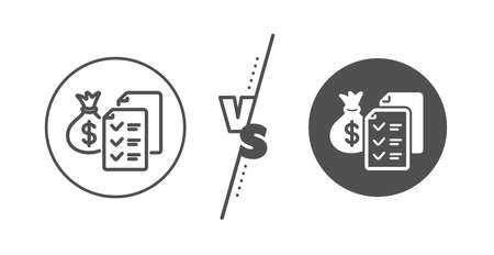Audit report sign. Versus concept. Accounting wealth line icon. Check finance symbol. Line vs classic accounting wealth icon. Vector