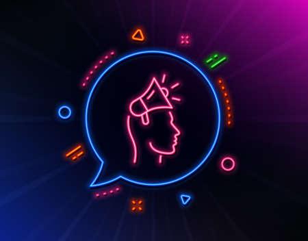 Brand ambassador line icon. Neon laser lights. Megaphone sign. Advertisement device symbol. Glow laser speech bubble. Neon lights chat bubble. Banner badge with brand ambassador icon. Vector Ilustrace