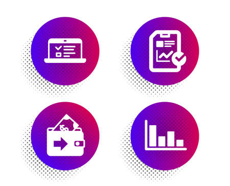 Web lectures, Report checklist and Wallet icons simple set. Halftone dots button. Histogram sign. Online test, Sales growth file, Money payment. Economic trend. Education set. Vector