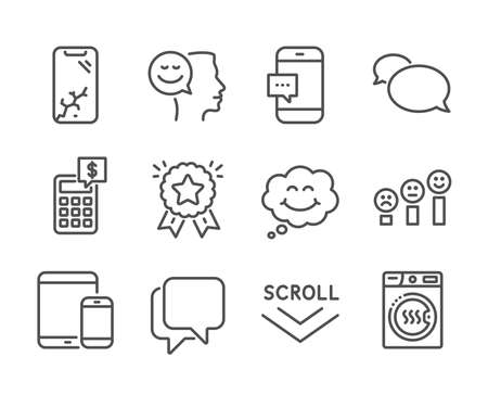 Set of Technology icons, such as Ranking star, Good mood, Scroll down, Mobile devices, Talk bubble, Customer satisfaction, Smartphone broken, Smartphone message, Smile, Calculator. Vector Ilustração