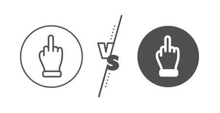 Palm gesture symbol. Versus concept. Middle finger hand line icon. Line vs classic middle finger icon. Vector