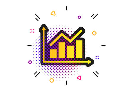 Graph chart sign icon. Halftone dots pattern. Diagram symbol. Statistics. Classic flat graph icon. Vector