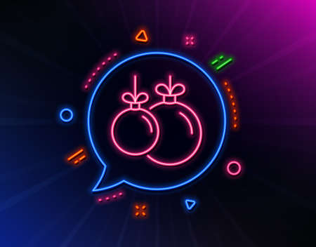 Christmas ball line icon. Neon laser lights. New year tree decoration sign. Glow laser speech bubble. Neon lights chat bubble. Banner badge with christmas ball icon. Vector Ilustrace