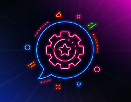 Settings gear line icon. Neon laser lights. Cogwheel with star sign. Working process symbol. Glow laser speech bubble. Neon lights chat bubble. Banner badge with settings gear icon. Vector