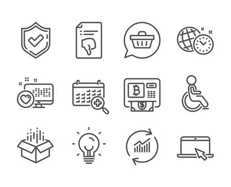 Set of Technology icons, such as Open box, Confirmed, Thumb down, Bitcoin atm, Energy, Disabled, Portable computer, Medical calendar, Update data, Heart, Time management, Shopping cart. Vector