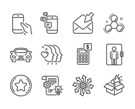 Set of Business icons, such as Calculator, Friends couple, Chemistry molecule, Megaphone box, Car, Cogwheel, Versatile, Loyalty star, Elevator, Communication, Open mail, Hold smartphone. Vector Illustration