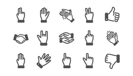 Hand gestures icons. Handshake, Clapping hands, Victory. Horns, Thumb up finger, drag and drop icons. Donation hand gestures, click, helping hand. Classic set. Quality set. Vector Illustration