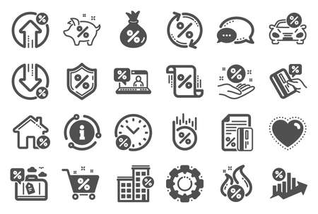 Loan icons. Set of Investment, Interest rate and Percentage diagram icons. Car leasing, analytics plan, Credit card percent and loan rate. Bank mortgage, leasing, interest graph. Quality set. Vector