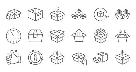 Box line icons. Package, delivery boxes, cargo box. Cargo distribution, export boxes, return parcel icons. Shipment of goods, open package. Linear set. Quality line set. Vector