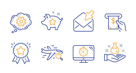 Atm service, Seo timer and Open mail line icons set. Search flight, Loyalty points and Ranking star signs. Cogwheel, Chemistry lab symbols. Cash investment, Analytics. Technology set. Vector Illustration