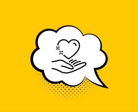 Hold heart line icon. Comic speech bubble. Care love emotion sign. Valentine day symbol. Yellow background with chat bubble. Hold heart icon. Colorful banner. Vector
