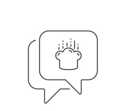 Cooking hat line icon. Chat bubble design. Chef sign. Food preparation symbol. Outline concept. Thin line cooking hat icon. Vector