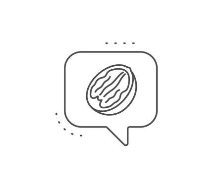 Pecan nut line icon. Chat bubble design. Tasty nuts sign. Vegan food symbol. Outline concept. Thin line pecan nut icon. Vector