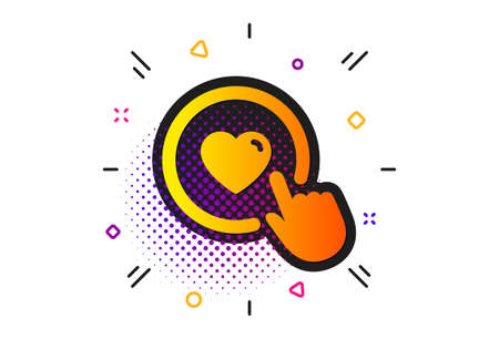 Love button symbol. Halftone circles pattern. Click like icon. Valentines day sign. Classic flat like button icon. Vector