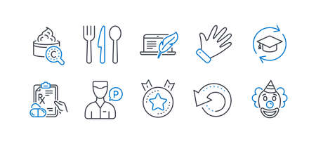 Set of Business icons, such as Recovery data, Food, Ranking star, Collagen skin, Prescription drugs, Copyright laptop, Valet servant, Hand, Continuing education, Clown line icons. Vector