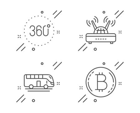 360 degrees, Wifi and Bus tour line icons set. Bitcoin sign. Panoramic view, Internet router, Transport. Cryptocurrency coin. Technology set. Line 360 degrees outline icon. Vector Иллюстрация