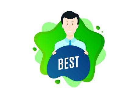 Best sign. Cut out people badge. Special offer Sale sign. Advertising Discounts symbol. Dynamic shape offer. Best text. Cut out people dynamic banner. Worker person badge. Vector