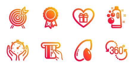 Clean bubbles, Romantic gift and Timer line icons set. Credit card, Peanut and Archery signs. Success, 360 degree symbols. Laundry shampoo, Surprise with love. Business set. Vector