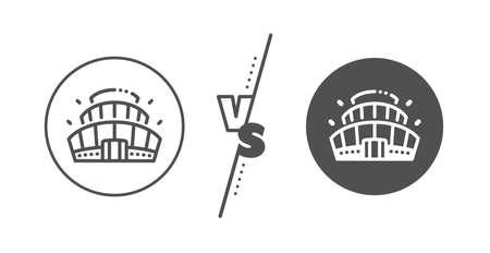 Competition building sign. Versus concept. Arena stadium line icon. Sport complex symbol. Line vs classic arena stadium icon. Vector