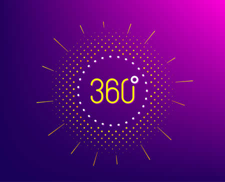 360 degrees line icon. Halftone pattern. Panoramic view sign. VR technology simulation symbol. Gradient background. 360 degrees line icon. Yellow halftone pattern. Vector