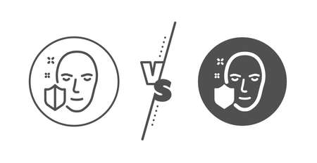 Secure access sign. Versus concept. Face detection protected line icon. Facial identification symbol. Line vs classic face protection icon. Vector Stock Illustratie