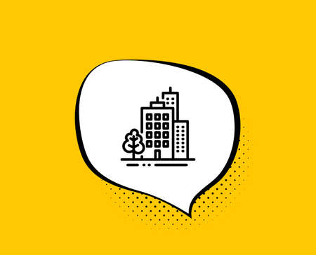 Buildings line icon. Comic speech bubble. City architecture with tree sign. Skyscraper building symbol. Yellow background with chat bubble. Buildings icon. Colorful banner. Vector Ilustrace