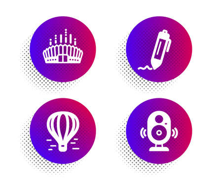 Arena stadium, Air balloon and Signature icons simple set. Halftone dots button. Speaker sign. Competition building, Flight travel, Written pen. Music sound. Business set. Vector Ilustracja