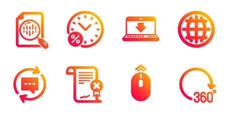 Analytics chart, Update comments and Internet downloading line icons set. Globe, Loan percent and Swipe up signs. Reject certificate, 360 degrees symbols. Report analysis, Chat speech bubble. Vector