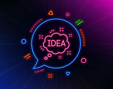 Idea speech bubble line icon. Neon laser lights. Graphic art sign. Inspiration symbol. Glow laser speech bubble. Neon lights chat bubble. Banner badge with idea icon. Vector Stock Illustratie