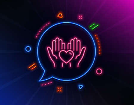 Hold heart line icon. Neon laser lights. Friends love sign. Friendship hand symbol. Glow laser speech bubble. Neon lights chat bubble. Banner badge with hold heart icon. Vector