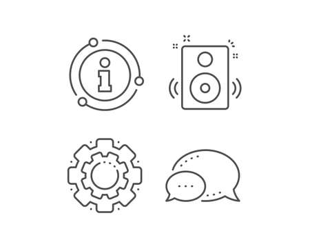Speakers line icon. Chat bubble, info sign elements. Music sound sign. Musical device symbol. Linear speakers outline icon. Information bubble. Vector