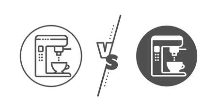 Vending machine sign. Versus concept. Coffee maker line icon. Make tea symbol. Line vs classic coffee maker icon. Vector 일러스트